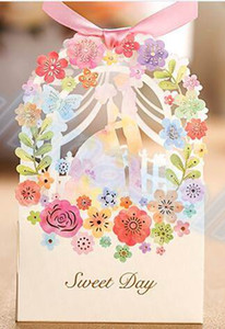 Wholesale Wedding Gift Box Elegant Luxury Decoration Flower Bride Laser Cut Party Sweet Favors Wedding Paper Candy Box