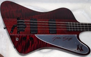 Wholesale Rare Strings Bass Fire Thunderbird Nikki XX Signature Wine Red Flame Maple Top Electric Bass Guitar EMG Pickups Black Hardware