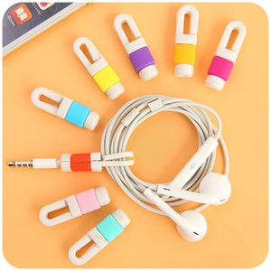 Wholesale 500pcs USB Cable Earphone Protector headphones line saver and cable winder cord holder data cable protection