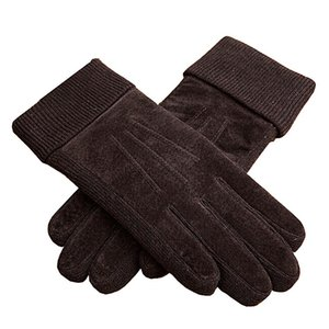 Wholesale Classical Outdoor Men Winter Warm Motorcycle Gloves XL XXL Black Brown Rowan Pigskin Leather Glove Mittens For Men
