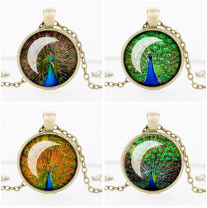 Wholesale Retro peacock feather time gem pendant necklace jewelry hot WFN344 with chain mix order pieces a