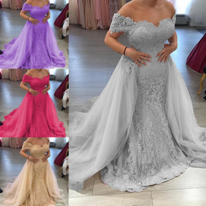 Wholesale Vintage Off The Shoulder Long Mermaid Evening Dresses With Detachable Train 2019 Lace Appliqued Cheap Prom Gowns