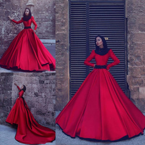 Wholesale Red Long Sleeves Muslim Evening Dresses High Neck A Line Prom Dresses With Beaded Belt Long Train Saudi Arabic Dubai Formal Party Gowns