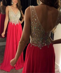 Wholesale Long Prom Dresses 2017 V-Neck Sleeveless Backless Sweep Train Chiffon with Crystal Sexy Party Gowns A-line Evening Dresses 2016