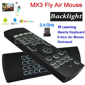 MX3 Backlight Wireless Keyboard With IR Learning 2.4G Wireless Remote Control Fly Air Mouse Backlit For Android TV Box PC i8 T3