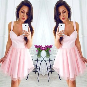 2018 Pink Short Cheap Party Dresses Spaghetti Straps A Line Knee Length Cocktail Gowns Mini Prom Dress For Graduation Bridesmaid Wear on Sale