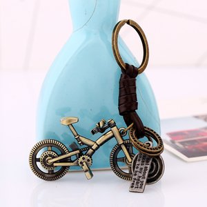 Wholesale Sporty Bicycle Keychains Keyring Vintage Leather Jewellery Bicycle Bag Charm Bike Key Chains Ring Bag Pendant Key Accessories