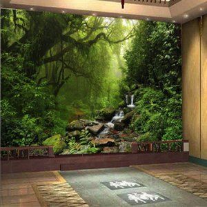 Wholesale photo 3D wallpaper Custom natural sunlight green eye forest landscape wallpaper for wall 3D bedroom for living room background