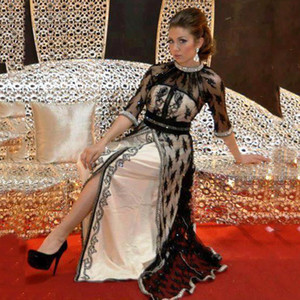 Wholesale Luxury Black Lace Kaftan Evening Dresses with half Sleeves Beaded Crystal Caftan Dubai Arabia Long Evening Gown Prom Dress