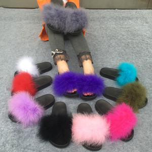 Wholesale Slippers Fur Furry Open Toe Women Casual Flat Shoes Soft Warm Fluffy Slip On Cute Home Floor Slippers Autumn Winter Colors