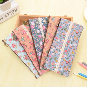 Wholesale PC ZAKKA Vintage dots flower lace series zipper felt pencil bag pen case students gift office school Stationery supplies