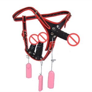 Wholesale New i1 Electric Strap On Dildo Penis Anal Plug Wearable Three headed Harness Vibrator Butt Plug Sex Game Toy for Women C3
