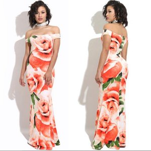 Wholesale Fashion sexy Women Dress Rose Printed Long Dresses Beach skirt Tube Top Fish tail Dress