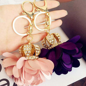 Wholesale Fashion Accessories Ladies Metal Keychain Crown Petal Flowers Crystal Luxury Jewelry Good Gift Top Quality