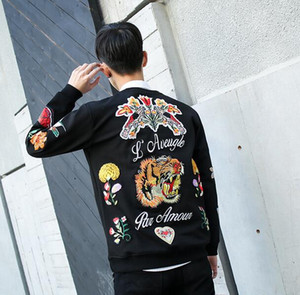 Wholesale New autumn Men s Casual jacket embroidery tiger flowers Round collar fleece Unisex Coat Tops