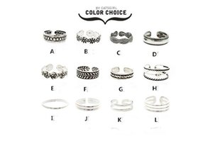 12Pcs Set Mix Celebrity Fashion Summer Retro Carved Flower Adjustable Foot Rings For Women Open Toe Ring Jewelry on Sale