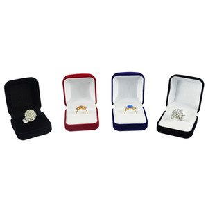 Wholesale 6Pcs Jewelry Display Box Red Black Blue Blocked Ring Jewelry Organizer Box Ring Package Storage Gift Box 5*5.8*3.5CM