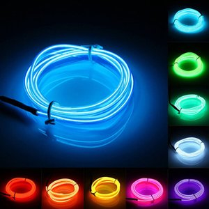 Wholesale 2M Flexible Neon Light Glow EL Wire Rope Tape Cable Strip LED Neon Lights Shoes Clothing Car Decorative Ribbon Lamp