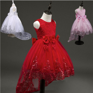 Wholesale 2017Fashion Flower Girl Bridesmaid Dress Children Red Mesh Trailing Butterfly Girls Wedding Dress Kids Ball Gown Embroidered Bow Party Dress