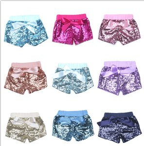 Wholesale Baby Sequins Summer Glitter Pants Glow Bowknot Shorts Fashion Boutique Shorts Girls Satin Bowknot Shorts Sequins Trousers