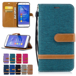 Wholesale Wallet Cases For Huawei P8 Lite Cover Stand with ID Card Pockets Flip Bucklet Hand Strap Cowboy Cloth Design