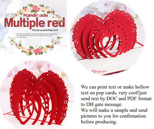 Wholesale laser cut wedding invitations wedding favors d wedding invitations cards customized love heart pop up cards party favors with envelope