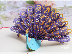 Wholesale- 2016 New 3D up Cards Custom Greeting Cards 3D Peacock in Red For Birthday Personalised Cards Free Shipping