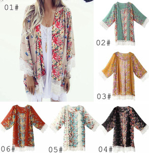 Wholesale Vintage Chiffon Blouse Big Girl Women Printed Kimono Cardigan Fringed Hem Lace Shawl Oversized Tops Outwear blusas femininas Poncho Outwear