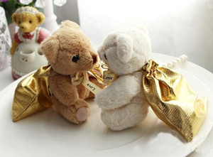 50pcs Bear With Golden Bags Wedding Gift Bag (9x12cm) High Quality Cute Party Birthday Candy Box Favour