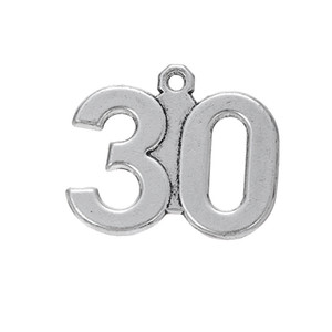 Anti-Silver Plated Number 30 & 44 & 46 Mixed Matal Number Charms Series for Jewelry Making 100Pcs lot