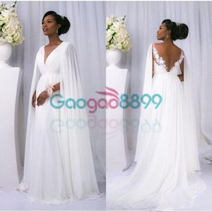 Wholesale Africa Chiffon Lace Garden Wedding Dresses with Cape 2019 Plus Size Modest V-neck Backless Beach Party Bridal Cheap Gowns