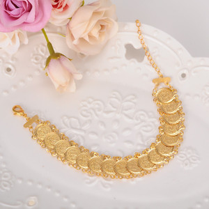 Wholesale Sky talent bao coin Bracelet K Gold GF Islamic Muslim Arab Coin Bracelet Women Men Arab Country Middle Eastern Jewelry