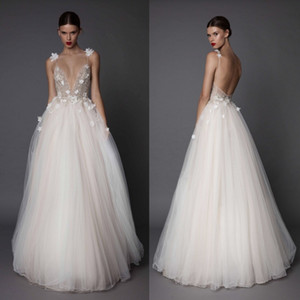 3D-Floral Appliques Berta 2019 Wedding Dresses Crystal Backless Spaghetti Plunging Neckline Beads Floor Length Ball Gown Sexy Bridal Dress