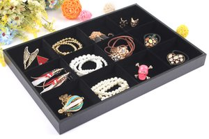 Wholesale bracelet display trays for sale - Group buy Fashion New Arrical Black Jewelry Rings Bracelets Display Show Case Organizer Tray Box Slots