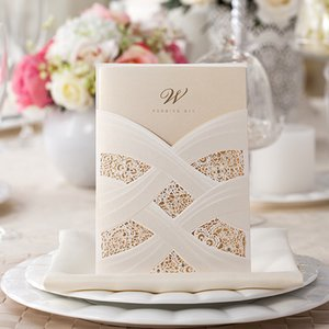 Wholesale Wishmade Design Vertical Laser Cut Flower Wedding Invitations Elegant White Hollow Flora Invitation Cards Include Envelopes CW060