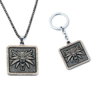 Wholesale The Witcher Wild Hunt Alloly Wolf Pendant Necklaces keychain Jewelry For Men Gift Hot Sale