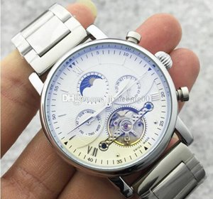Wholesale high quality Men Watch Skeleton Automatic Mechanical Hand Winding Watches Women s Unisex Sun Moon Phase Pattern Stainless Steel Strap Clock