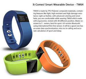 Wholesale Hot TW64 New colors wristband Smart Band Fitness Activity Tracker Bluetooth Sport Smart Bracelet for IOS Android Cellphone