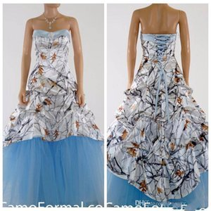 Wholesale 2020 Beautiful White Camo Prom Dress Satin Light Sky Blue Special Party Gowns Draped Lace Up Back Plus Size Real Tree Snowfall
