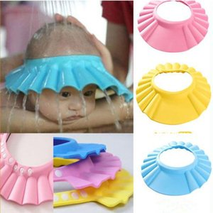 Wholesale Adjustable Baby Kids Shower Cap Shampoo Bath Bathing Shower Cap Comfortable Flexible Multicolor Hat Wash Hair Shield