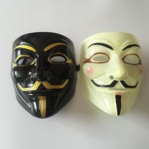 Wholesale v for vendetta black mask resale online - V for Vendetta Mask Halloween Plastic Mask for Adult Masquerade Costume Party Fancy Dress Cosplay Face Mask
