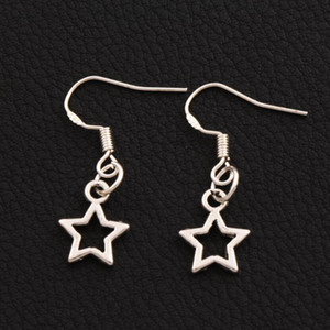 Wholesale hook fishing small for sale - Group buy Small Open Star Earrings Silver Fish Ear Hook pairs Antique Silver Dangle Chandelier E138 x26 mm