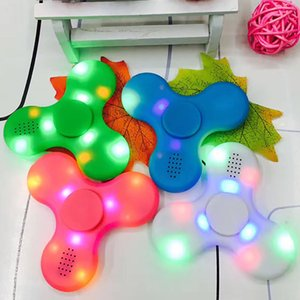 Wholesale New Led Bluetooth Music Fidget Nef Spinner Finger HandSpinner EDC Hand Tri Spinner HandSpinner EDC Plastic Decompression Toy Gifts HH T01