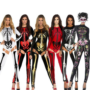 Wholesale Halloween Party Costumes Scary Devil Ghost Cosplay big Children Women Skull Skeleton Prints Leotard Catsuit Costume