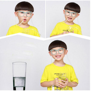 Wholesale Sunglasses Drinking Straw Funny Kids Colorful Soft Glasses Unique Flexible Drinking Sunglasses Tube Kids Party Gift