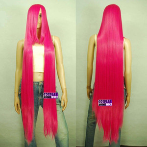 Wholesale long rose wig for sale - Group buy 130cm Hot Rose Pink Hi_Temp Series cm Extra long Bang Cosplay Wigs _HRP