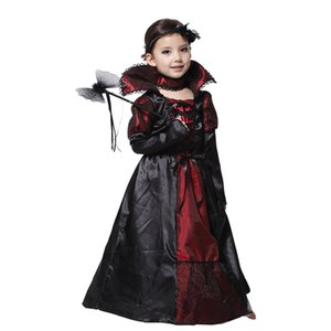 Wholesale Children Girls Vampire Halloween Party Costume Lace Dress Cosplay Performance Clothing Gifts Without Hand held wand HH7
