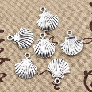 Wholesale Charms shell mm handmade Craft pendant making fit Vintage Tibetan Silver DIY for bracelet necklace
