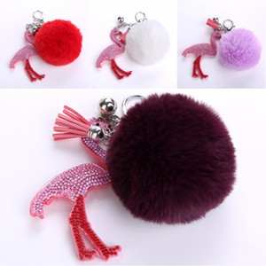 Wholesale 14cm PU Leather Diamond keychain Flamingo Pendant Keychains Faux Fur Pom Pom Ball Doll Keyring Key Chain Ring D34Q