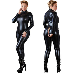 Wholesale Women Sexy Black Open Crotch Zentai Catsuit Jumpsuit Faux Leather Leggings Pants Club Zipper Long Sleeve